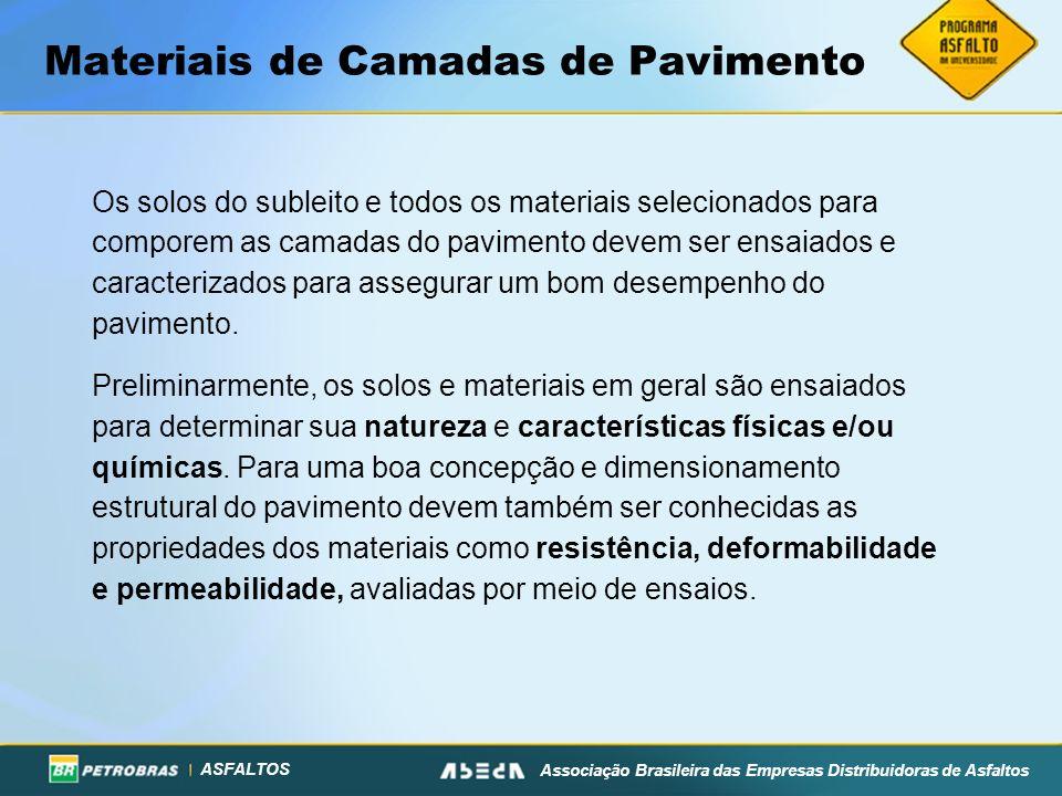 ASFALTOS Associação Brasileira das Empresas Distribuidoras de Asfaltos Materiais de Camadas de Pavimento Os solos do subleito e todos os materiais sel