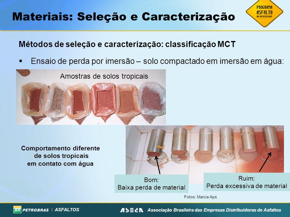ASFALTOS Associação Brasileira das Empresas Distribuidoras de Asfaltos Materiais: Seleção e Caracterização Métodos de seleção e caracterização: classi
