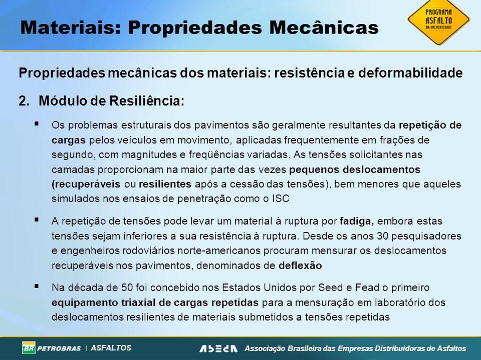 ASFALTOS Associação Brasileira das Empresas Distribuidoras de Asfaltos Materiais: Propriedades Mecânicas Propriedades mecânicas dos materiais: resistê