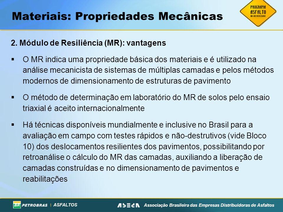 ASFALTOS Associação Brasileira das Empresas Distribuidoras de Asfaltos Materiais: Propriedades Mecânicas 2. Módulo de Resiliência (MR): vantagens O MR