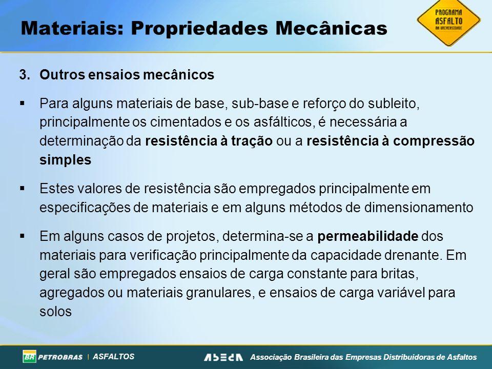 ASFALTOS Associação Brasileira das Empresas Distribuidoras de Asfaltos Materiais: Propriedades Mecânicas 3.Outros ensaios mecânicos Para alguns materi