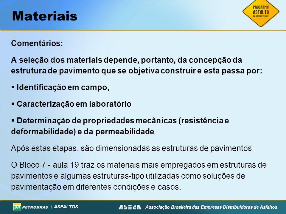 ASFALTOS Associação Brasileira das Empresas Distribuidoras de Asfaltos Materiais Comentários: A seleção dos materiais depende, portanto, da concepção