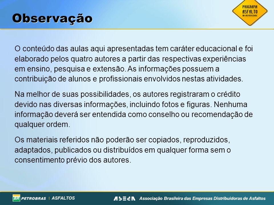 ASFALTOS Associação Brasileira das Empresas Distribuidoras de Asfaltos Materiais de Camadas de Pavimento As estruturas de pavimentos são sistemas de camadas de espessuras finitas assentes sobre a fundação, chamada de subleito.