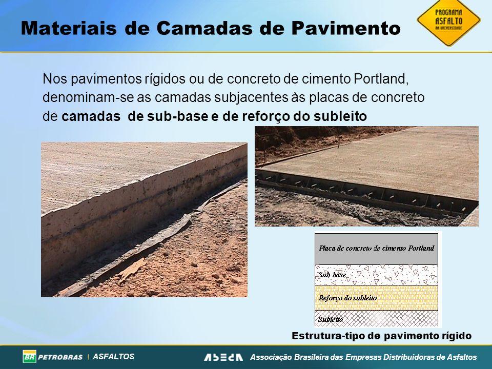 ASFALTOS Associação Brasileira das Empresas Distribuidoras de Asfaltos Materiais de Camadas de Pavimento Nos pavimentos rígidos ou de concreto de cime
