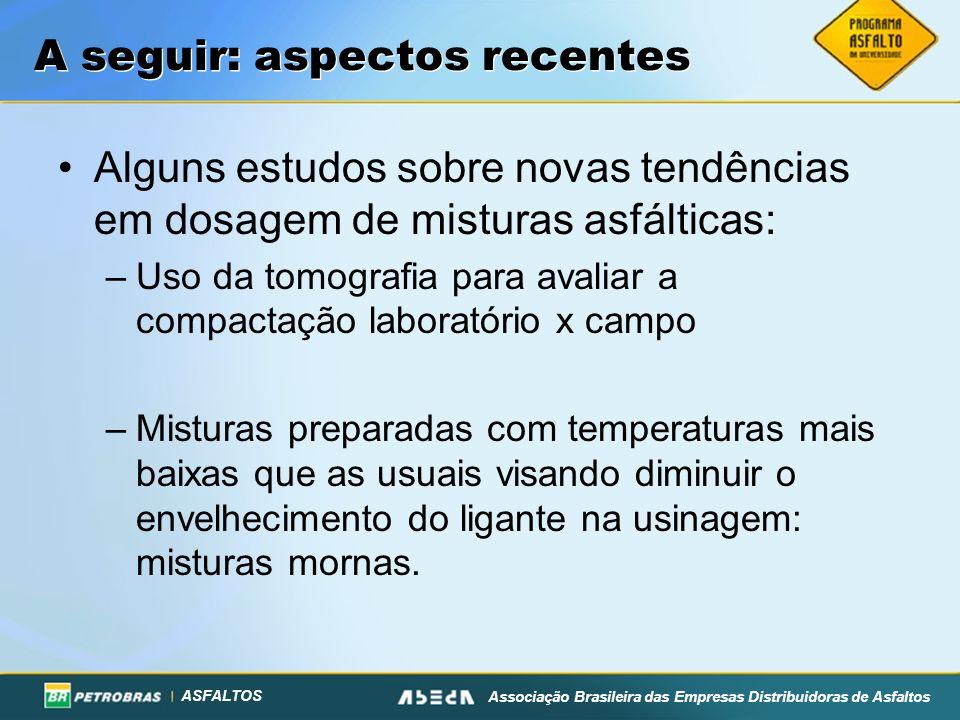 ASFALTOS Associação Brasileira das Empresas Distribuidoras de Asfaltos A seguir: aspectos recentes Alguns estudos sobre novas tendências em dosagem de