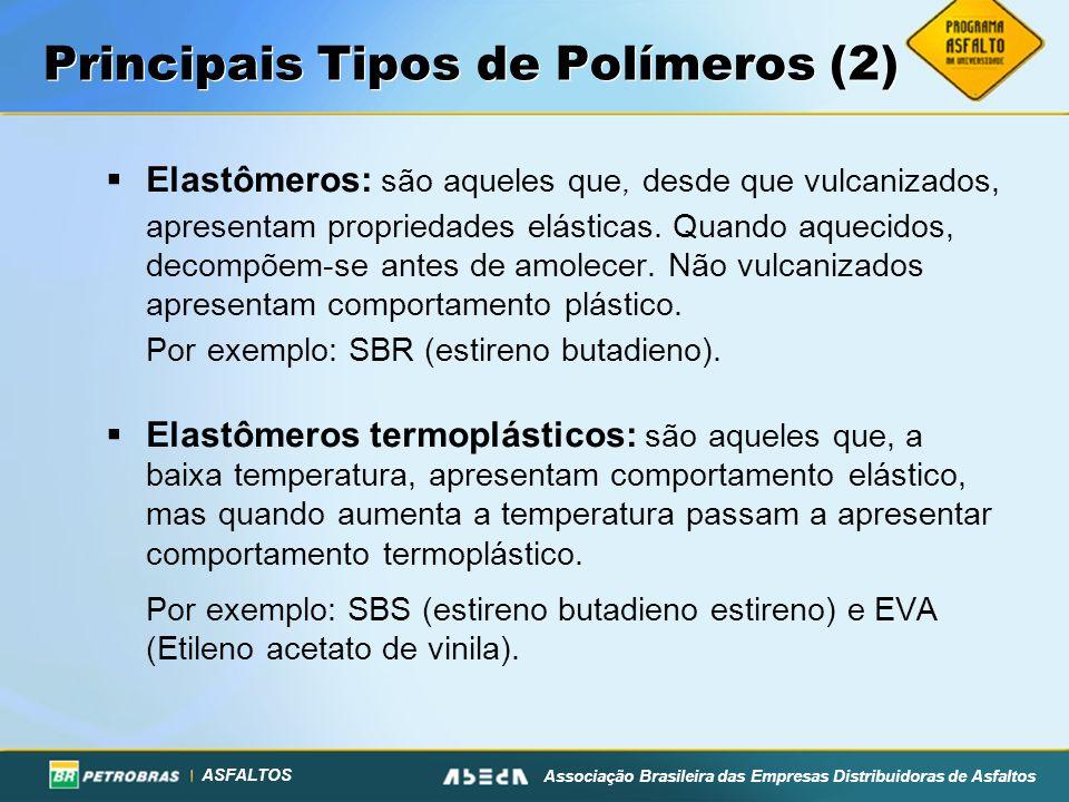 ASFALTOS Associação Brasileira das Empresas Distribuidoras de Asfaltos Principais Tipos de Polímeros (2) Elastômeros: são aqueles que, desde que vulcanizados, apresentam propriedades elásticas.