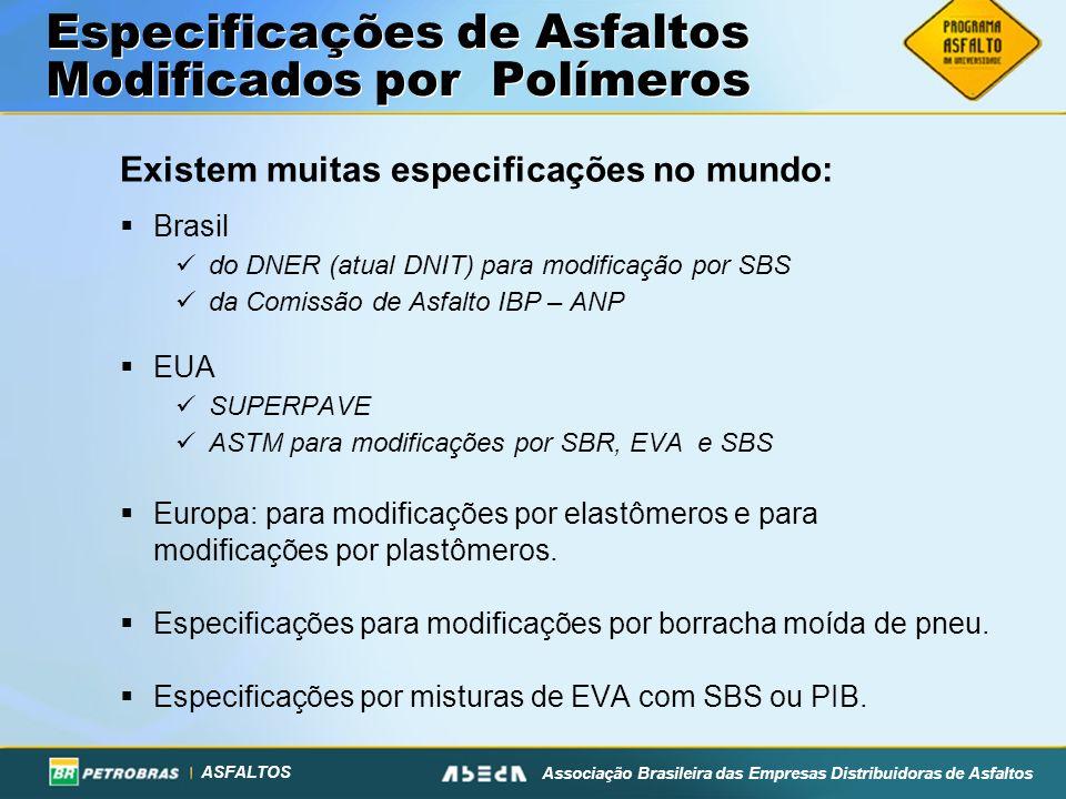 ASFALTOS Associação Brasileira das Empresas Distribuidoras de Asfaltos Especificações de Asfaltos Modificados por Polímeros Existem muitas especificações no mundo: Brasil do DNER (atual DNIT) para modificação por SBS da Comissão de Asfalto IBP – ANP EUA SUPERPAVE ASTM para modificações por SBR, EVA e SBS Europa: para modificações por elastômeros e para modificações por plastômeros.