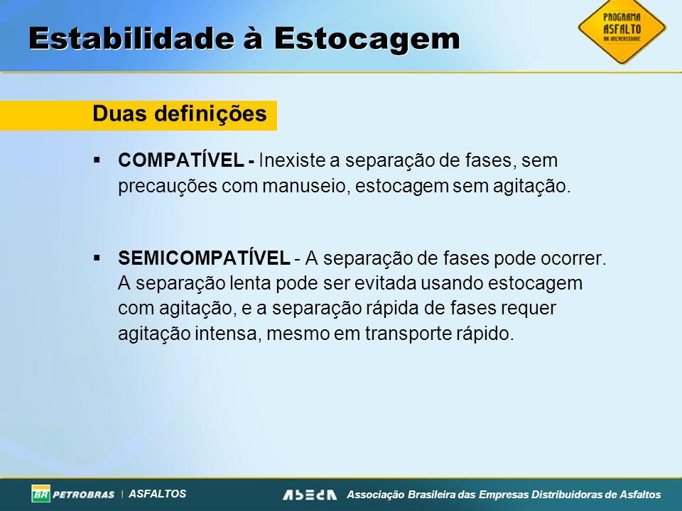 ASFALTOS Associação Brasileira das Empresas Distribuidoras de Asfaltos Estabilidade à Estocagem Duas definições COMPATÍVEL - Inexiste a separação de fases, sem precauções com manuseio, estocagem sem agitação.
