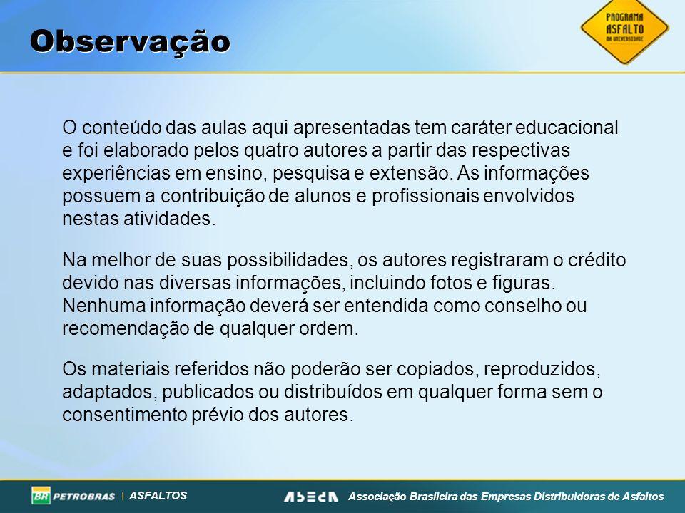 ASFALTOS Associação Brasileira das Empresas Distribuidoras de Asfaltos Requisitos Físicos do Asfalto Borracha ASTM D 6114 - Não Estocável PROPRIEDADES TIPOS – EM FUNÇÃO DO CLIMA 1 - QUENTE2 - MODERADO3 - FRIO Visc.