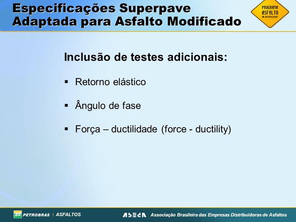 ASFALTOS Associação Brasileira das Empresas Distribuidoras de Asfaltos Especificações Superpave Adaptada para Asfalto Modificado Inclusão de testes adicionais: Retorno elástico Ângulo de fase Força – ductilidade (force - ductility)