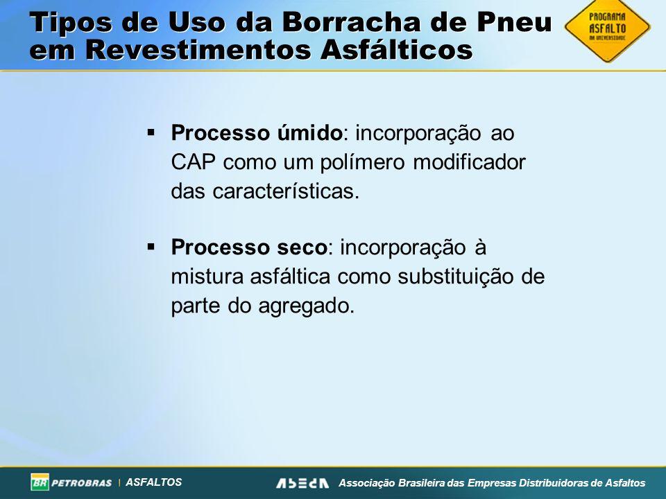 ASFALTOS Associação Brasileira das Empresas Distribuidoras de Asfaltos Tipos de Uso da Borracha de Pneu em Revestimentos Asfálticos Processo úmido: incorporação ao CAP como um polímero modificador das características.