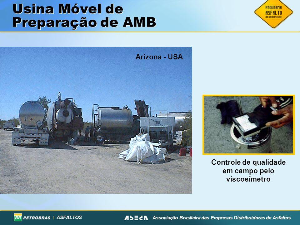 ASFALTOS Associação Brasileira das Empresas Distribuidoras de Asfaltos Usina Móvel de Preparação de AMB Arizona - USA Controle de qualidade em campo pelo viscosímetro