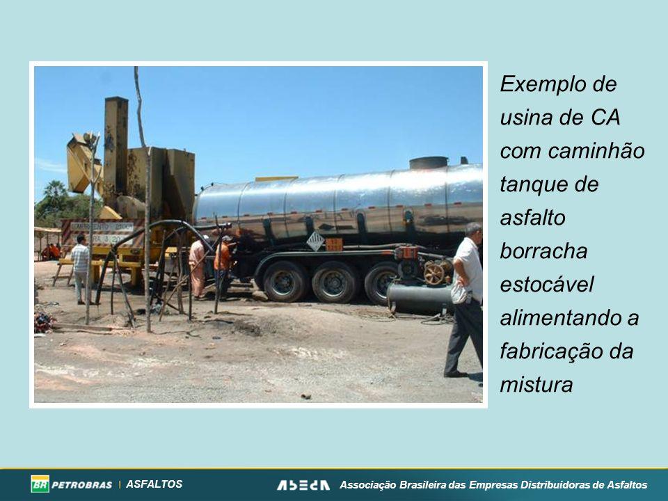 ASFALTOS Associação Brasileira das Empresas Distribuidoras de Asfaltos Exemplo de usina de CA com caminhão tanque de asfalto borracha estocável alimentando a fabricação da mistura