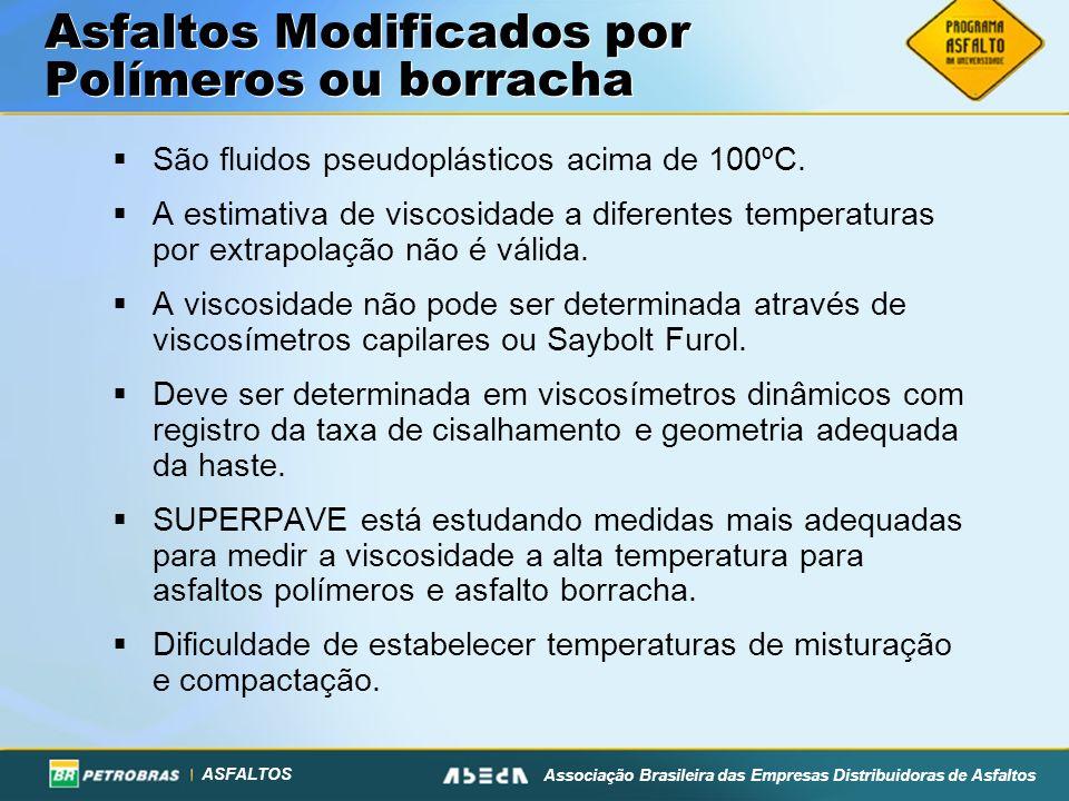 ASFALTOS Associação Brasileira das Empresas Distribuidoras de Asfaltos Asfaltos Modificados por Polímeros ou borracha São fluidos pseudoplásticos acima de 100ºC.