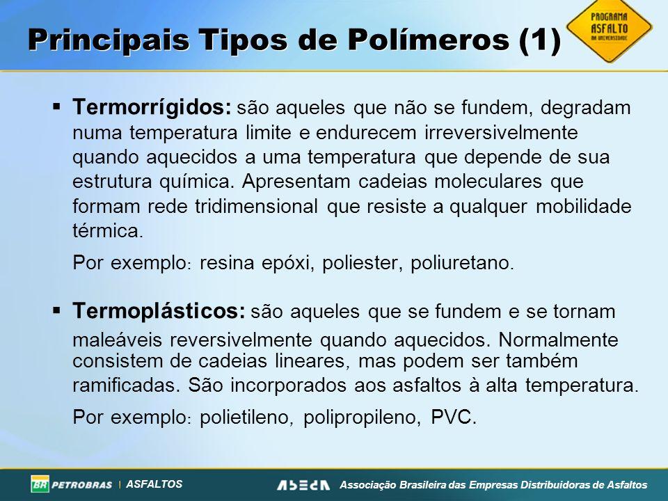 ASFALTOS Associação Brasileira das Empresas Distribuidoras de Asfaltos Principais Tipos de Polímeros (1) Termorrígidos: são aqueles que não se fundem, degradam numa temperatura limite e endurecem irreversivelmente quando aquecidos a uma temperatura que depende de sua estrutura química.