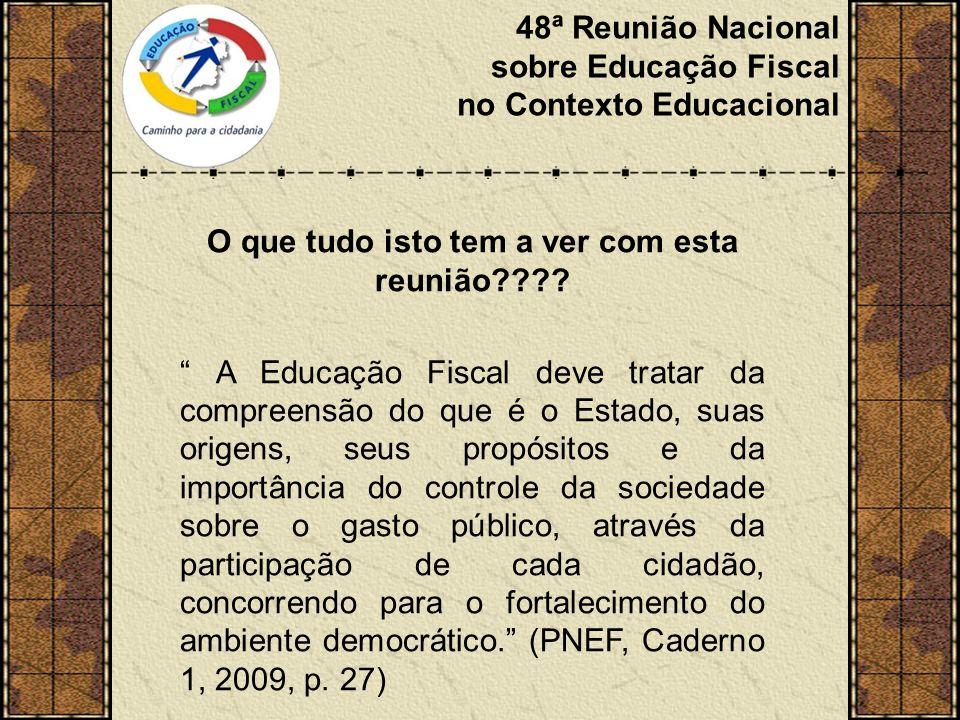48ª Reunião Nacional sobre Educação Fiscal no Contexto Educacional O que tudo isto tem a ver com esta reunião .
