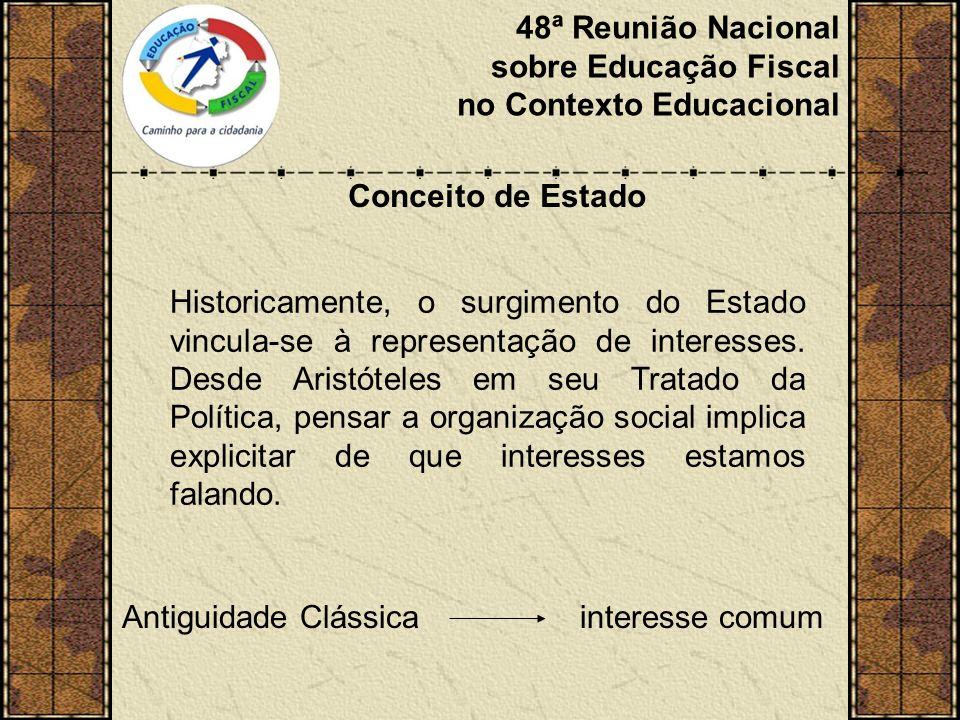 48ª Reunião Nacional sobre Educação Fiscal no Contexto Educacional Conceito de Estado Historicamente, o surgimento do Estado vincula-se à representação de interesses.