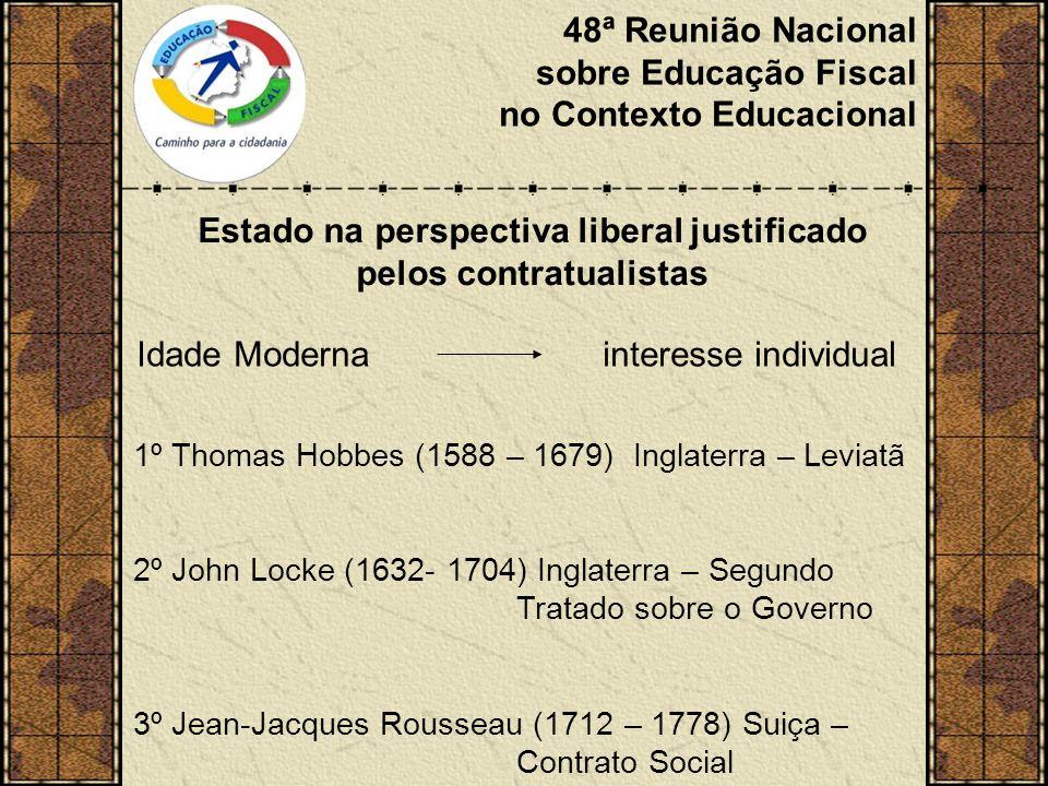 48ª Reunião Nacional sobre Educação Fiscal no Contexto Educacional Estado na perspectiva liberal justificado pelos contratualistas Idade Moderna interesse individual 1º Thomas Hobbes (1588 – 1679) Inglaterra – Leviatã 2º John Locke (1632- 1704) Inglaterra – Segundo Tratado sobre o Governo 3º Jean-Jacques Rousseau (1712 – 1778) Suiça – Contrato Social