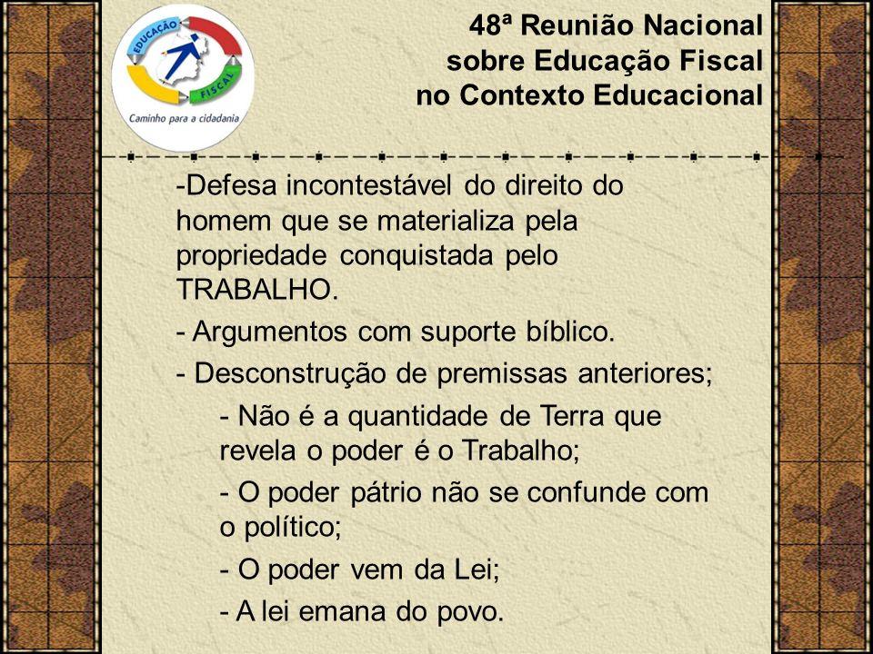 48ª Reunião Nacional sobre Educação Fiscal no Contexto Educacional -Defesa incontestável do direito do homem que se materializa pela propriedade conquistada pelo TRABALHO.