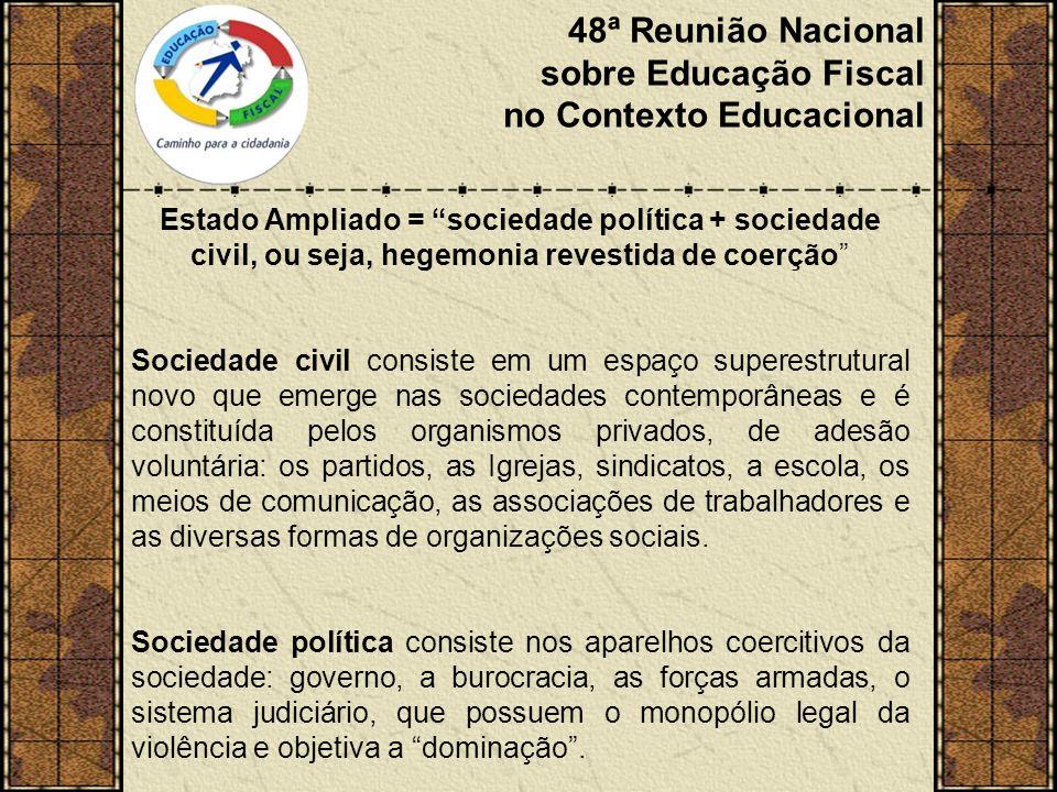 48ª Reunião Nacional sobre Educação Fiscal no Contexto Educacional A supremacia de um grupo social se manifesta como dominação e como direção intelectual e moral.