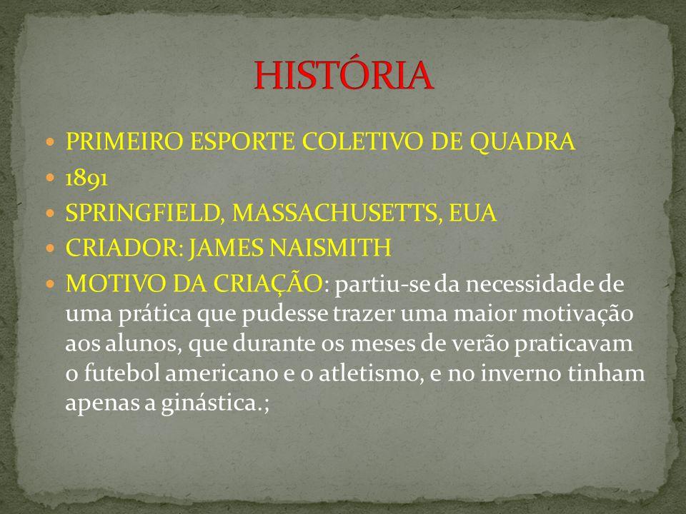PRIMEIRO ESPORTE COLETIVO DE QUADRA 1891 SPRINGFIELD, MASSACHUSETTS, EUA CRIADOR: JAMES NAISMITH MOTIVO DA CRIAÇÃO: partiu-se da necessidade de uma pr