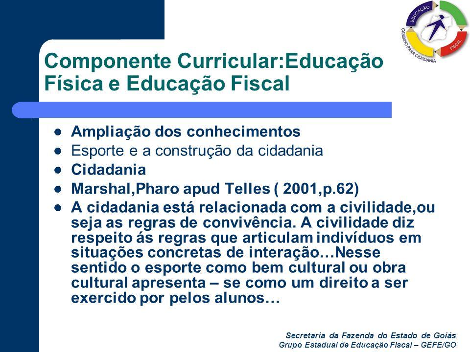 Secretaria da Fazenda do Estado de Goiás Grupo Estadual de Educação Fiscal – GEFE/GO Componente Curricular:Educação Física e Educação Fiscal Ampliação