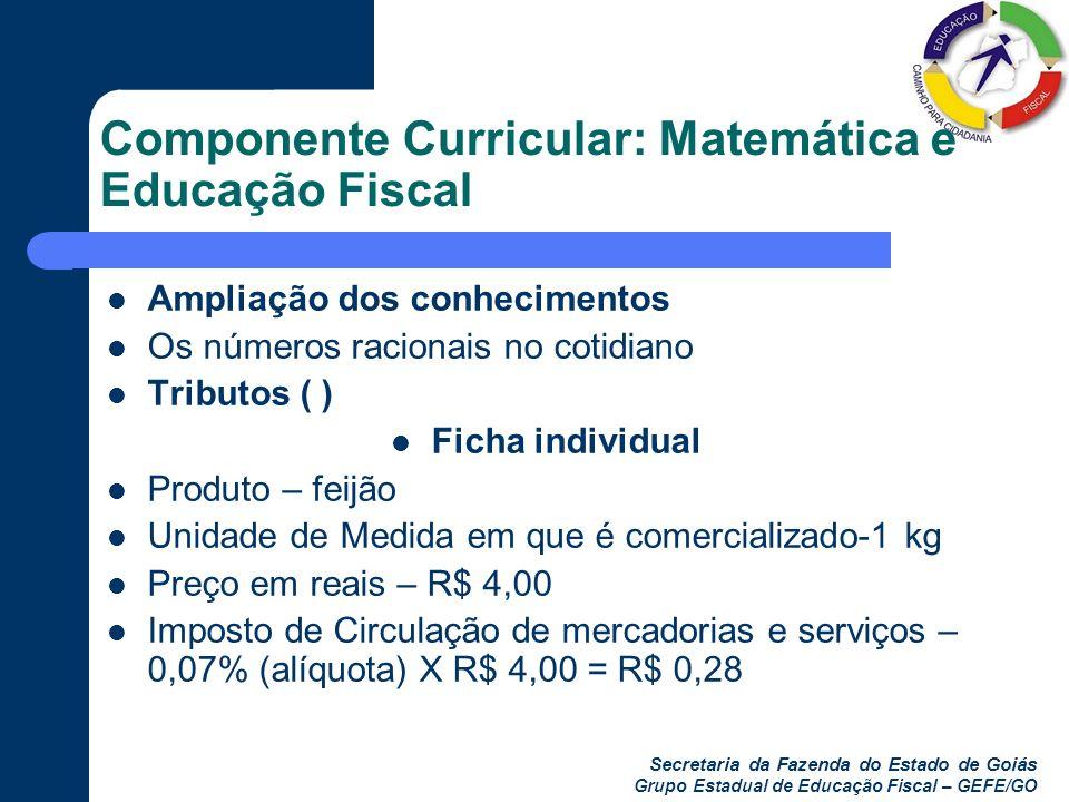 Secretaria da Fazenda do Estado de Goiás Grupo Estadual de Educação Fiscal – GEFE/GO Componente Curricular: Matemática e Educação Fiscal Ampliação dos