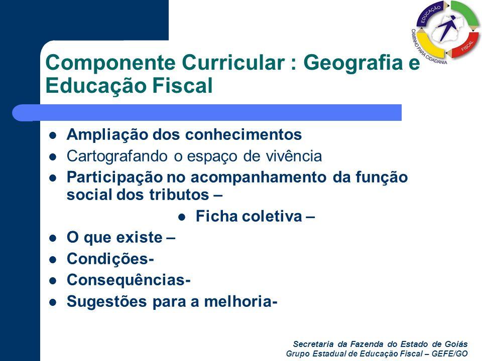 Secretaria da Fazenda do Estado de Goiás Grupo Estadual de Educação Fiscal – GEFE/GO Componente Curricular : Geografia e Educação Fiscal Ampliação dos