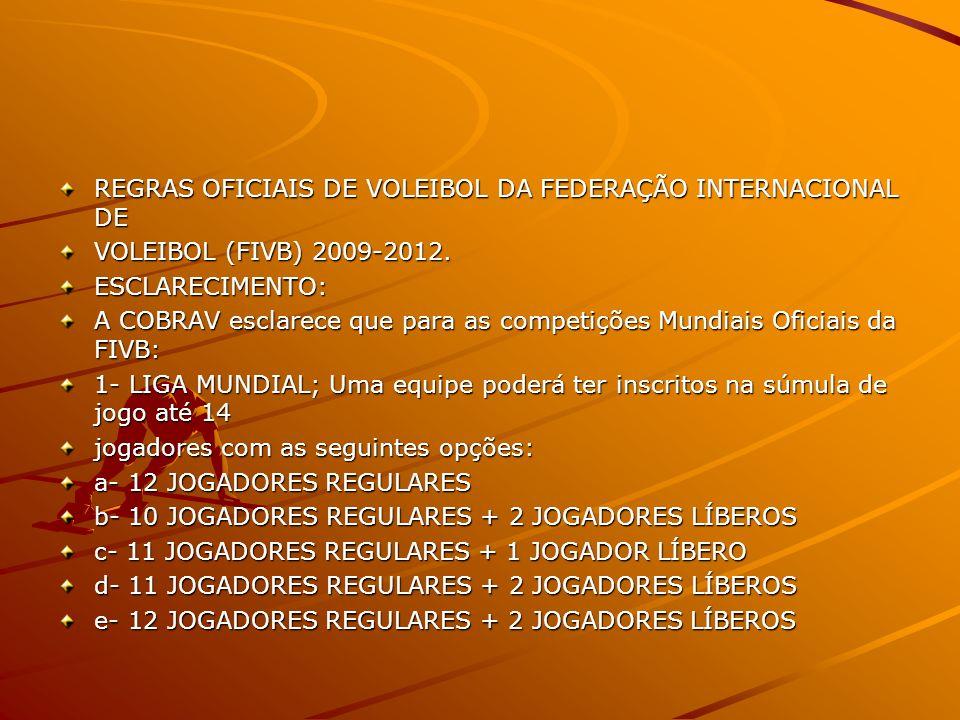 REGRAS OFICIAIS DE VOLEIBOL DA FEDERAÇÃO INTERNACIONAL DE VOLEIBOL (FIVB) 2009-2012.