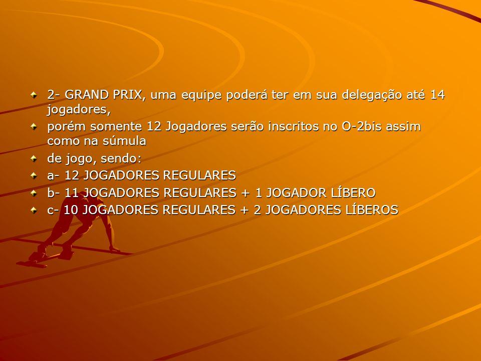 2- GRAND PRIX, uma equipe poderá ter em sua delegação até 14 jogadores, porém somente 12 Jogadores serão inscritos no O-2bis assim como na súmula de jogo, sendo: a- 12 JOGADORES REGULARES b- 11 JOGADORES REGULARES + 1 JOGADOR LÍBERO c- 10 JOGADORES REGULARES + 2 JOGADORES LÍBEROS