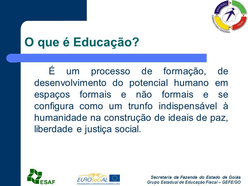 Secretaria da Fazenda do Estado de Goiás Grupo Estadual de Educação Fiscal – GEFE/GO O que é Educação? É um processo de formação, de desenvolvimento d