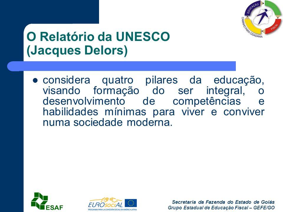 Secretaria da Fazenda do Estado de Goiás Grupo Estadual de Educação Fiscal – GEFE/GO O Relatório da UNESCO (Jacques Delors) considera quatro pilares d