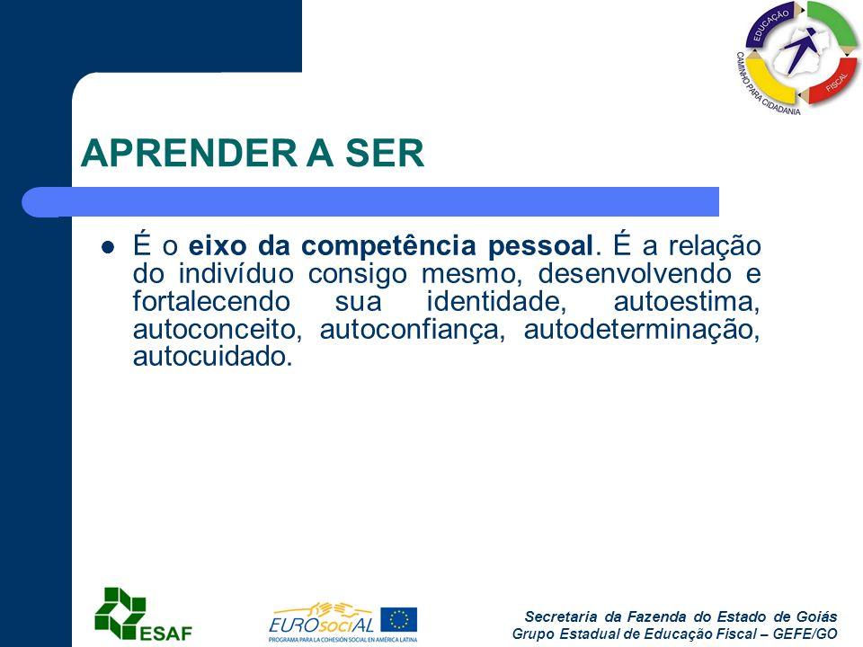 Secretaria da Fazenda do Estado de Goiás Grupo Estadual de Educação Fiscal – GEFE/GO APRENDER A SER É o eixo da competência pessoal. É a relação do in