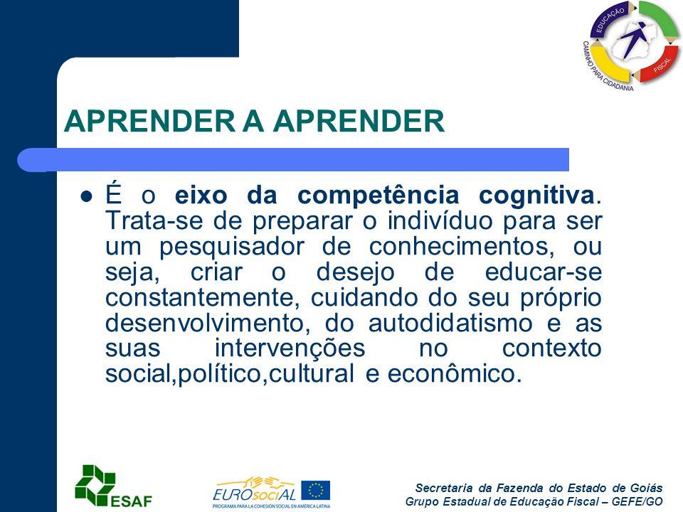 Secretaria da Fazenda do Estado de Goiás Grupo Estadual de Educação Fiscal – GEFE/GO APRENDER A APRENDER É o eixo da competência cognitiva. Trata-se d