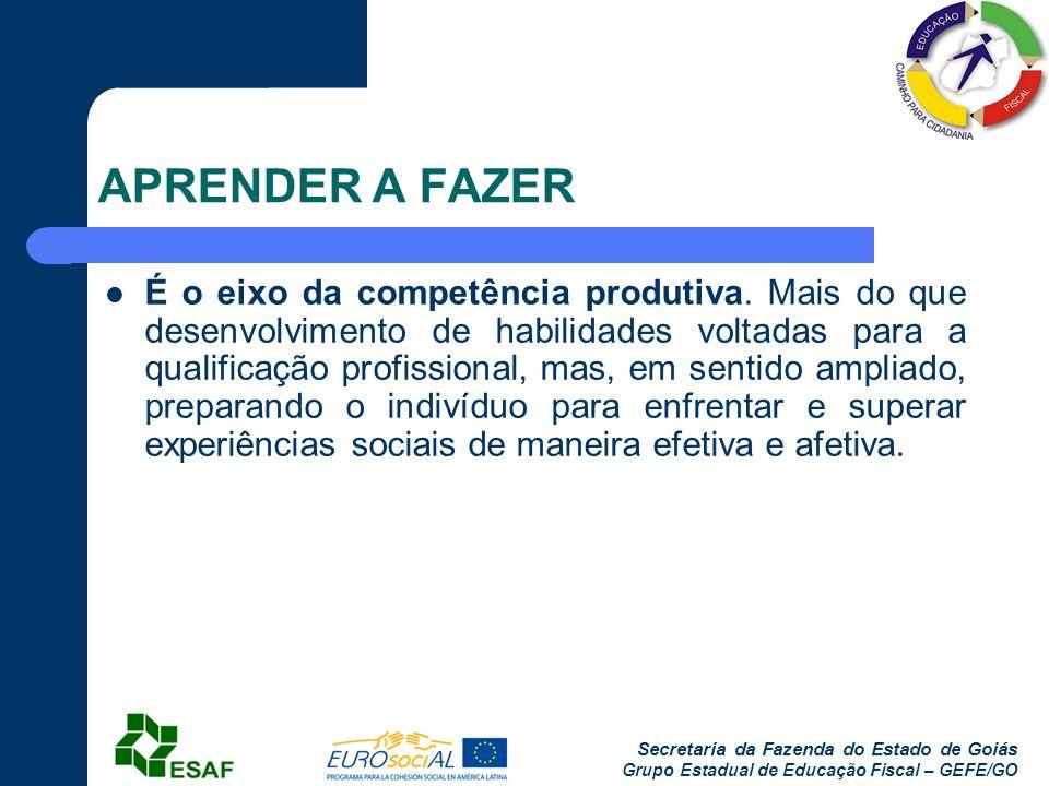 Secretaria da Fazenda do Estado de Goiás Grupo Estadual de Educação Fiscal – GEFE/GO APRENDER A FAZER É o eixo da competência produtiva. Mais do que d