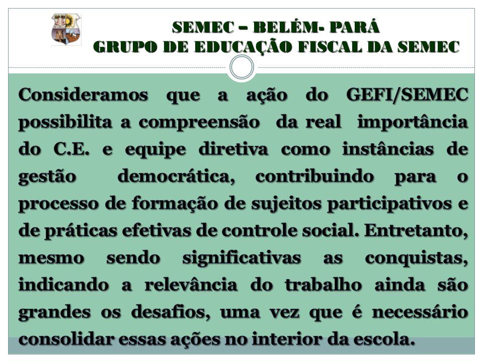 SEMEC – BELÉM- PARÁ GRUPO DE EDUCAÇÃO FISCAL DA SEMEC