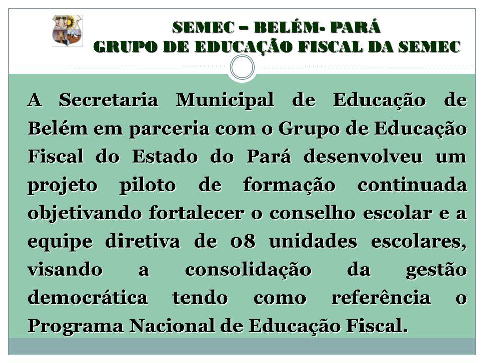 A Secretaria Municipal de Educação de Belém em parceria com o Grupo de Educação Fiscal do Estado do Pará desenvolveu um projeto piloto de formação con