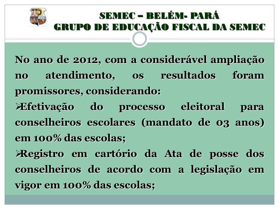 SEMEC – BELÉM- PARÁ GRUPO DE EDUCAÇÃO FISCAL DA SEMEC No ano de 2012, com a considerável ampliação no atendimento, os resultados foram promissores, co