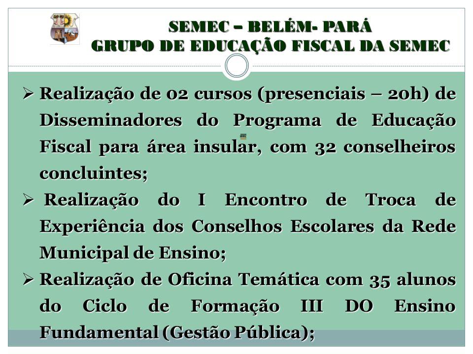 SEMEC – BELÉM- PARÁ GRUPO DE EDUCAÇÃO FISCAL DA SEMEC Realização de 02 cursos (presenciais – 20h) de Disseminadores do Programa de Educação Fiscal par