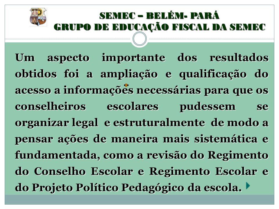 SEMEC – BELÉM- PARÁ GRUPO DE EDUCAÇÃO FISCAL DA SEMEC Um aspecto importante dos resultados obtidos foi a ampliação e qualificação do acesso a informaç