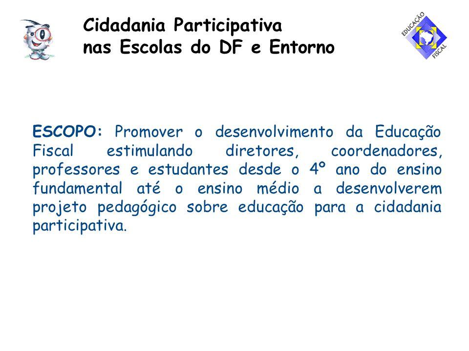 ESCOPO: Promover o desenvolvimento da Educação Fiscal estimulando diretores, coordenadores, professores e estudantes desde o 4º ano do ensino fundamen