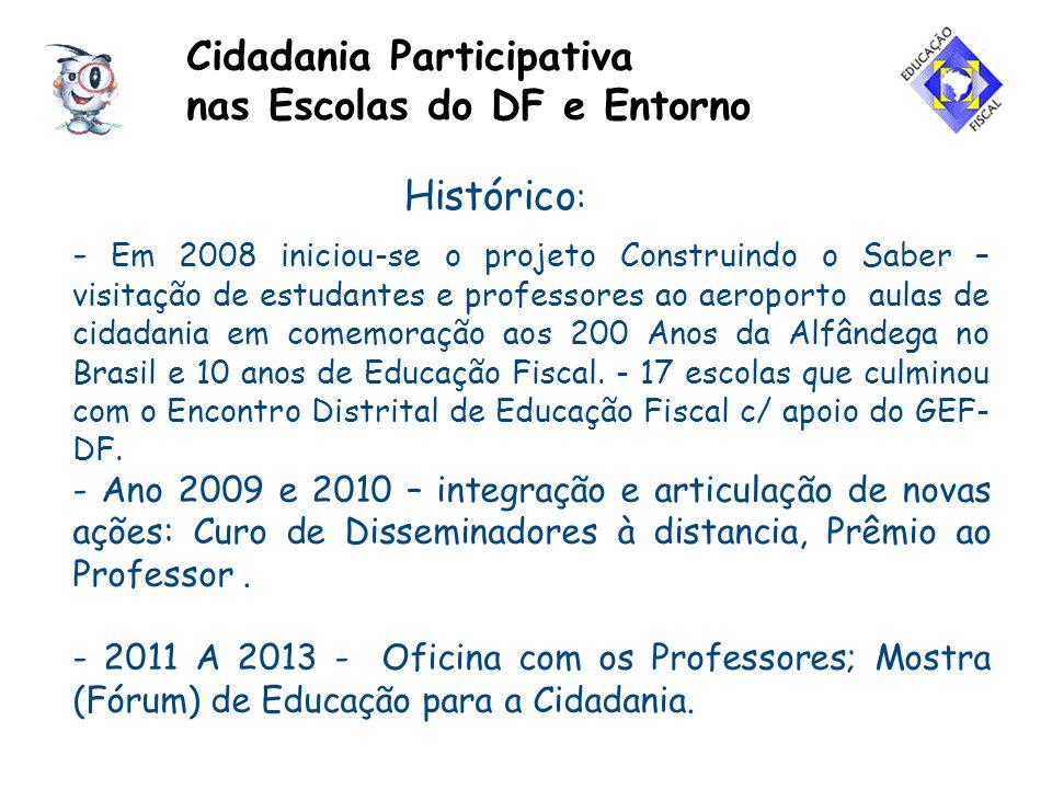 Projeto Cidadania Participativa nas Escolas do DF e Entorno EXECUÇÃO: Grupos de Educação Fiscal do DF e de Goiás; Superintendência Regional da Receita Federal - Alfândega de Brasília e Fundação Anfip.