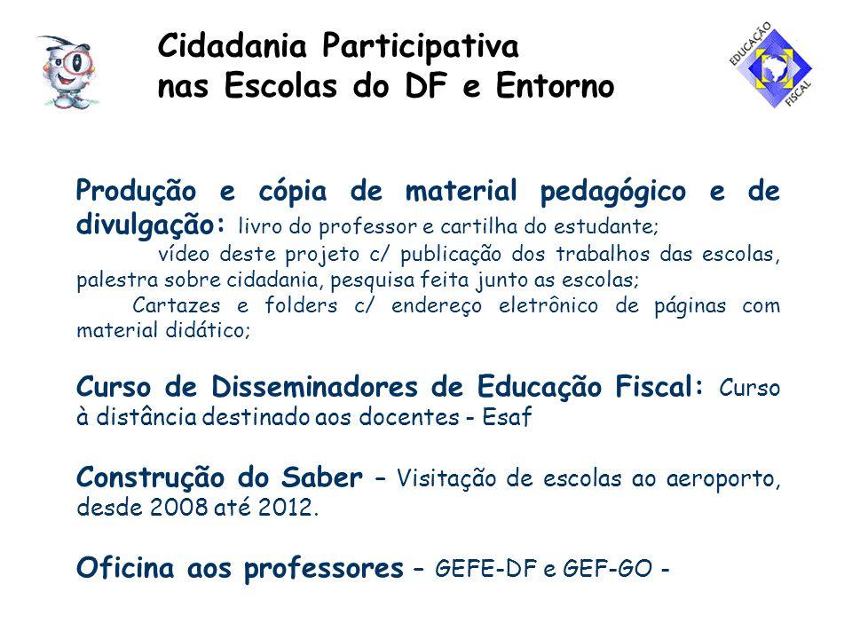 Cidadania Participativa nas Escolas do DF e Entorno Doação de Bens às escolas – Alfândega de Brasília Projeto de Inclusão Digital e Educação Fiscal – aos municípios vizinhos ao Distrito Federal – Receita Federal 1ª RF e Secret.