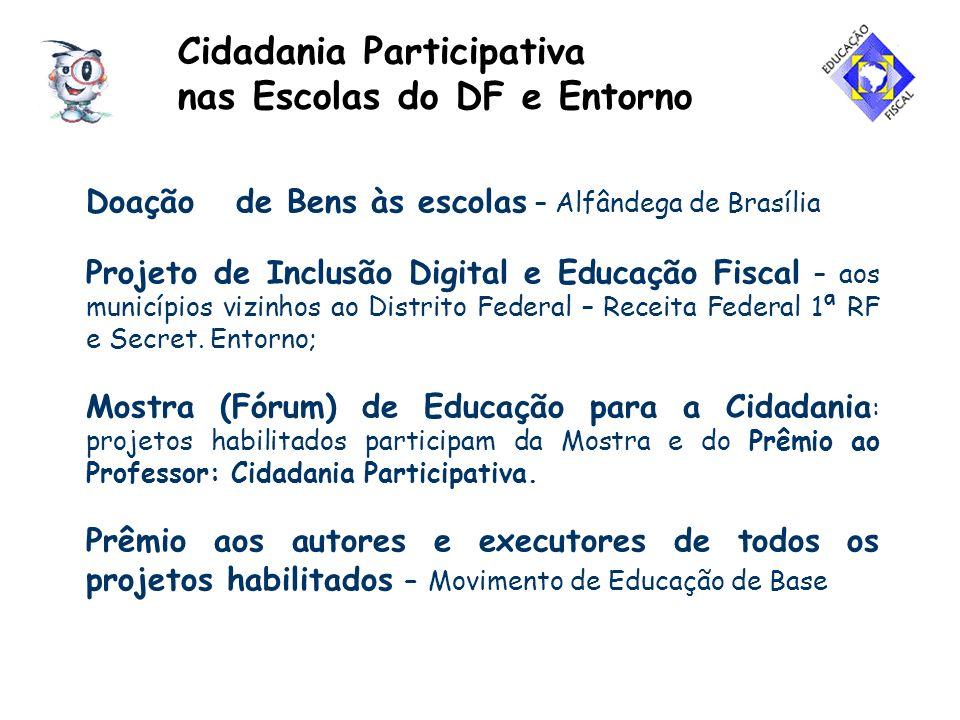 Cidadania Participativa nas Escolas do DF e Entorno Doação de Bens às escolas – Alfândega de Brasília Projeto de Inclusão Digital e Educação Fiscal –
