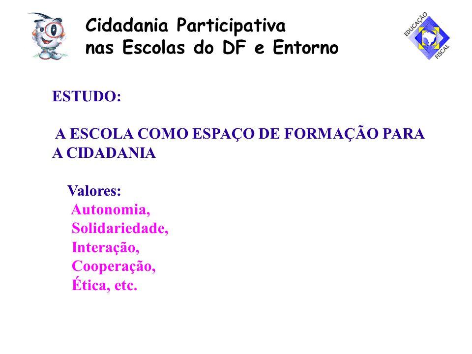 Cidadania Participativa nas Escolas do DF e Entorno ESTUDO: A ESCOLA COMO ESPAÇO DE FORMAÇÃO PARA A CIDADANIA Valores: Autonomia, Solidariedade, Inter