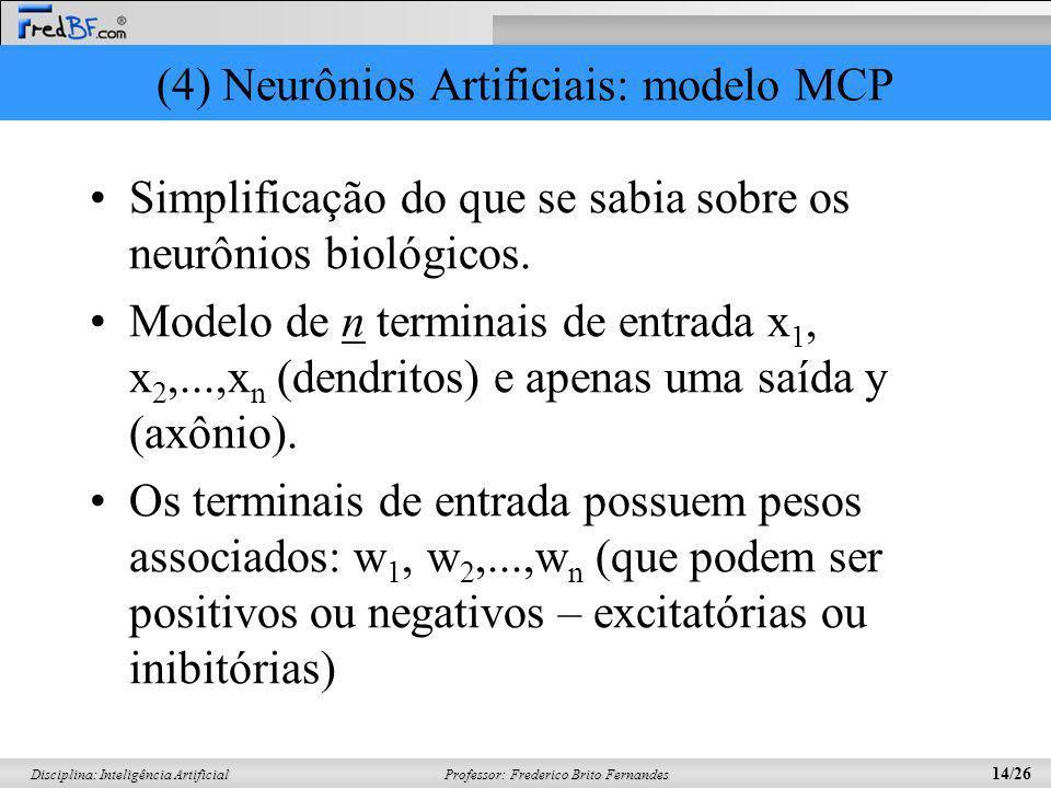Professor: Frederico Brito Fernandes 14/26 Disciplina: Inteligência Artificial (4) Neurônios Artificiais: modelo MCP Simplificação do que se sabia sob