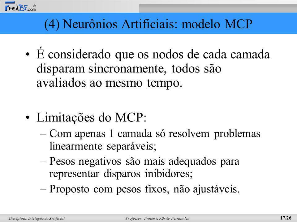 Professor: Frederico Brito Fernandes 17/26 Disciplina: Inteligência Artificial (4) Neurônios Artificiais: modelo MCP É considerado que os nodos de cad