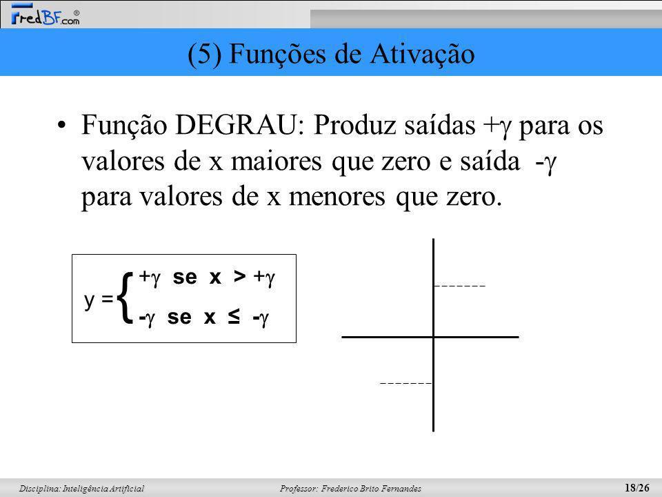 Professor: Frederico Brito Fernandes 18/26 Disciplina: Inteligência Artificial (5) Funções de Ativação Função DEGRAU: Produz saídas + para os valores