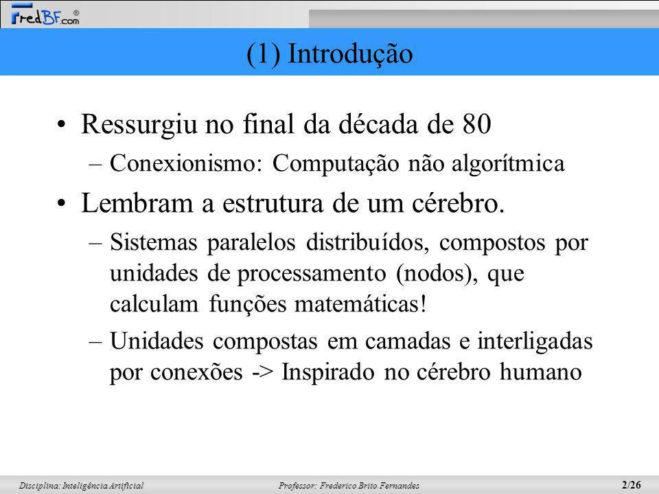 Professor: Frederico Brito Fernandes 2/26 Disciplina: Inteligência Artificial (1) Introdução Ressurgiu no final da década de 80 –Conexionismo: Computa