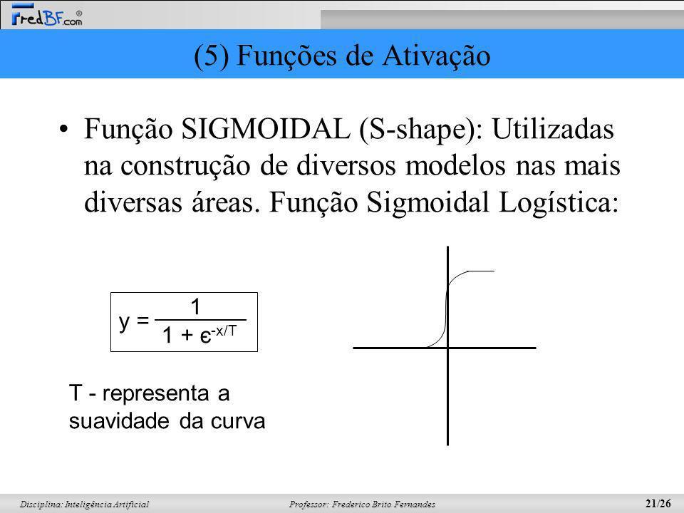 Professor: Frederico Brito Fernandes 21/26 Disciplina: Inteligência Artificial (5) Funções de Ativação Função SIGMOIDAL (S-shape): Utilizadas na const